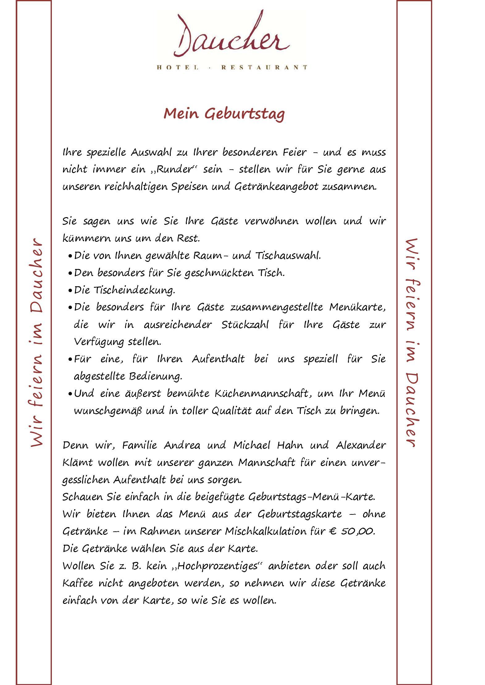 Speisekarte - Restaurant Daucher in Nürnberg - DeutschlandGourmet