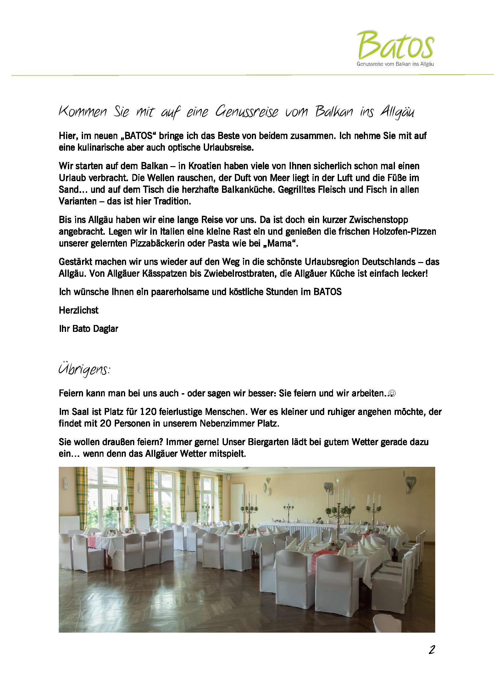 Deutschlands Schönste Küche 2016 | Speisekarte Restaurant Batos Genussreise Vom Balkan Ins Allgu In