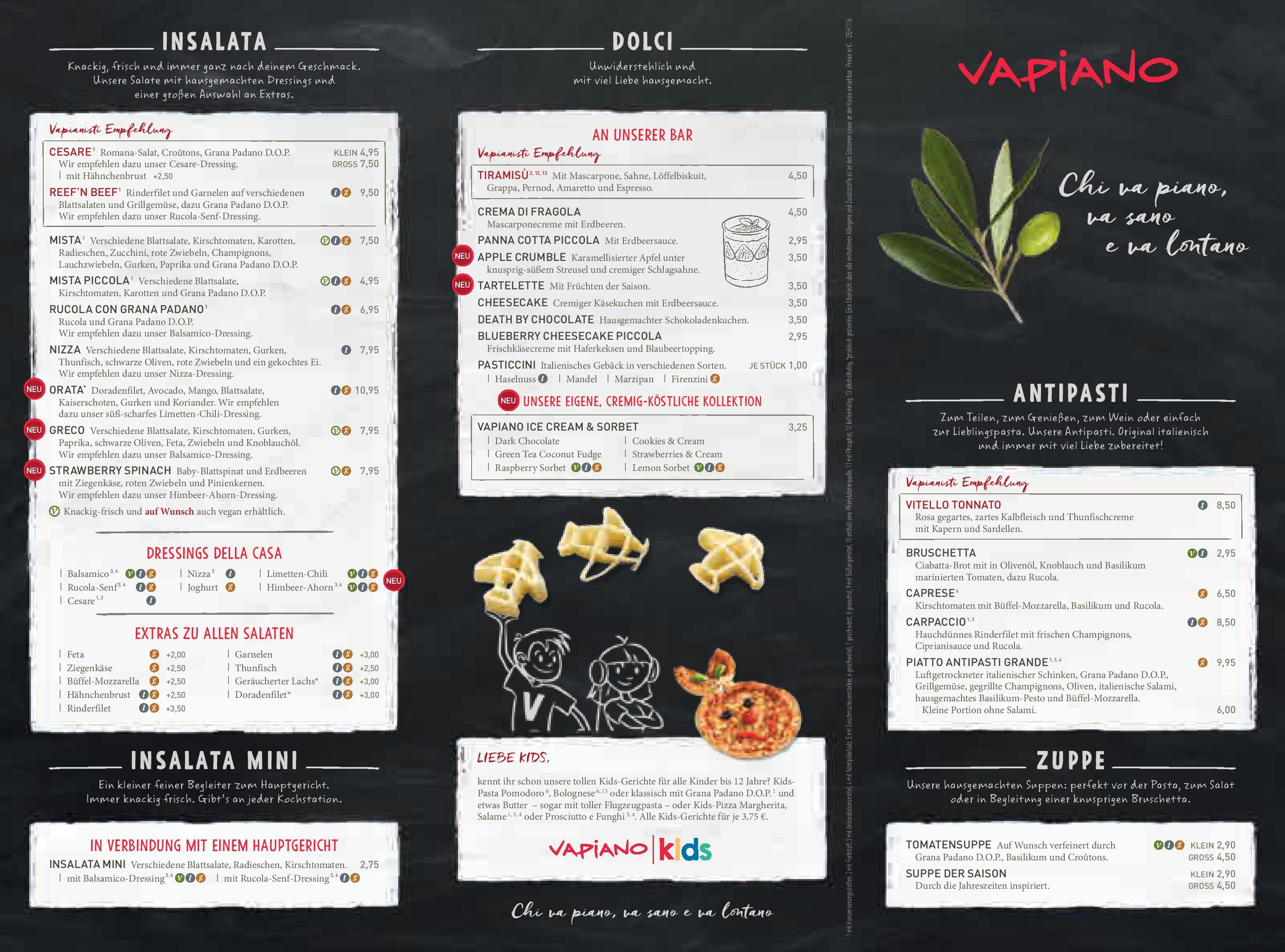 Vapiano Restaurant Menu
