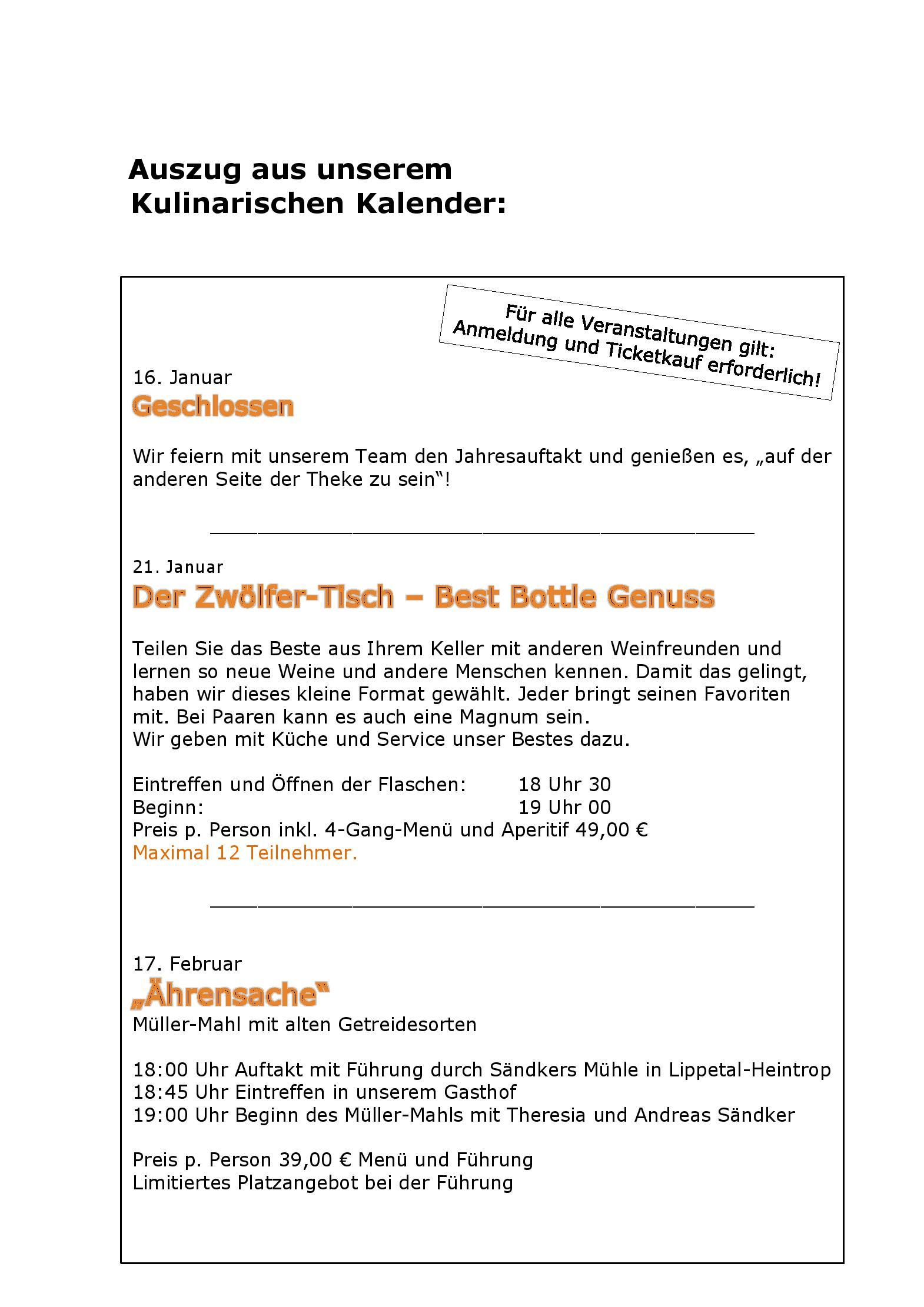 Speisekarte - Restaurant Gasthof Willenbrink in Lippetal ...