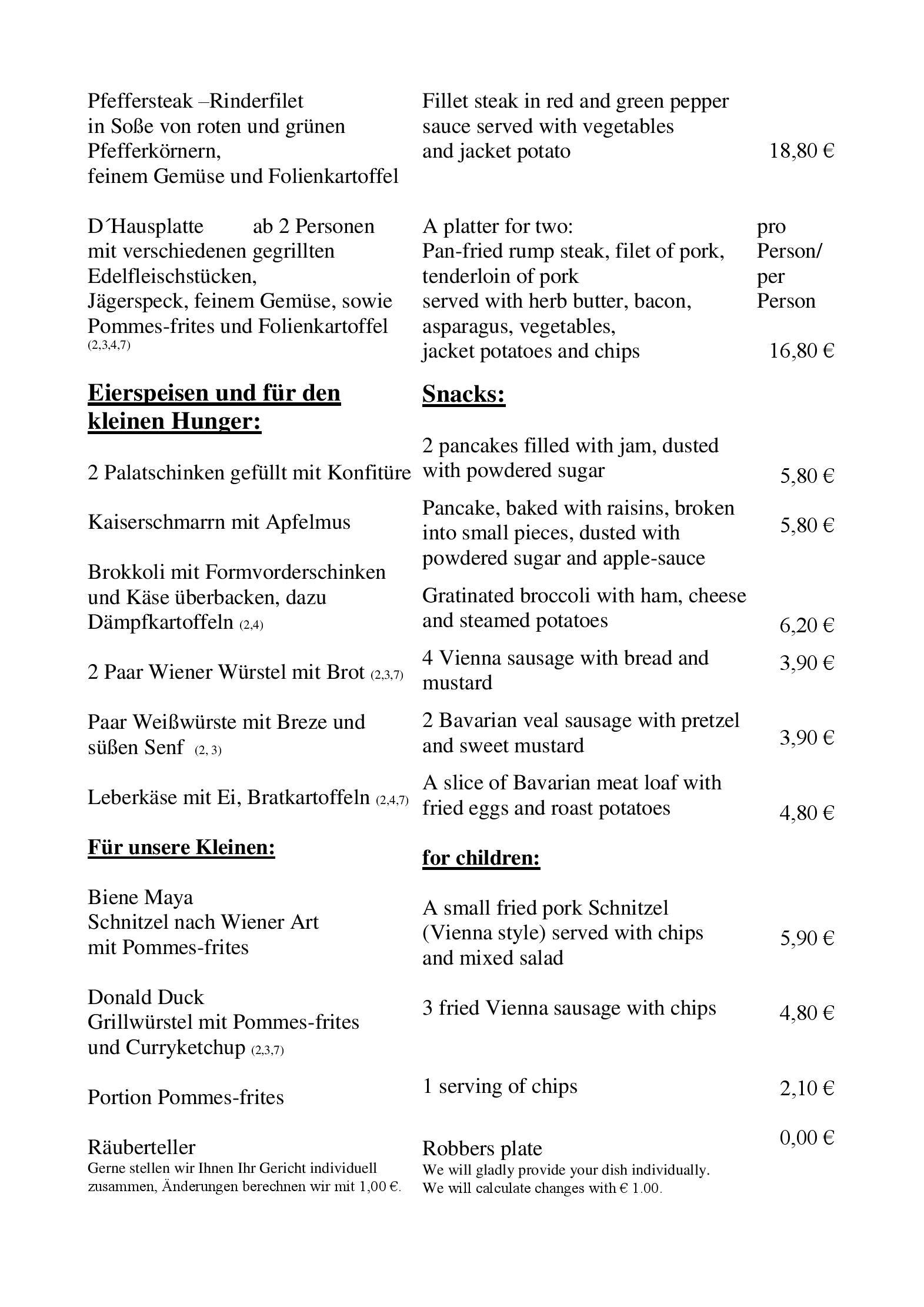 Speisekarte Hotel Zur Post Restaurant In Obernzell Ot Erlau Bei