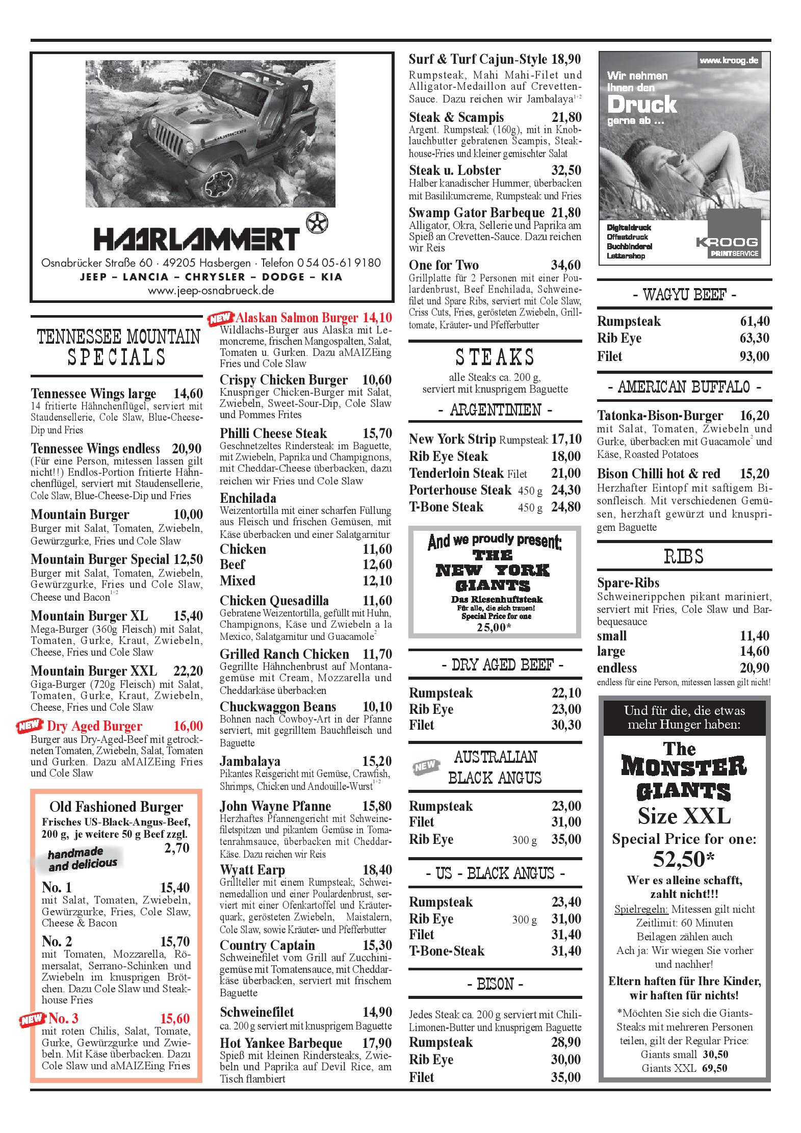 Speisekarte Restaurant Tennessee Mountain Ohg In Lotte