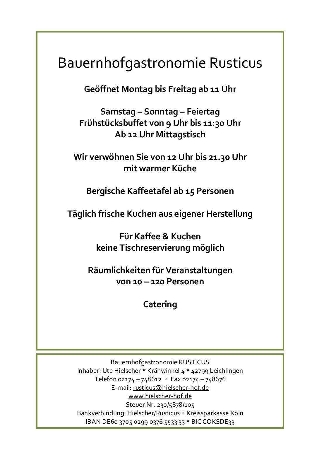 Speisekarte - Restaurant Rusticus in Leichlingen ...