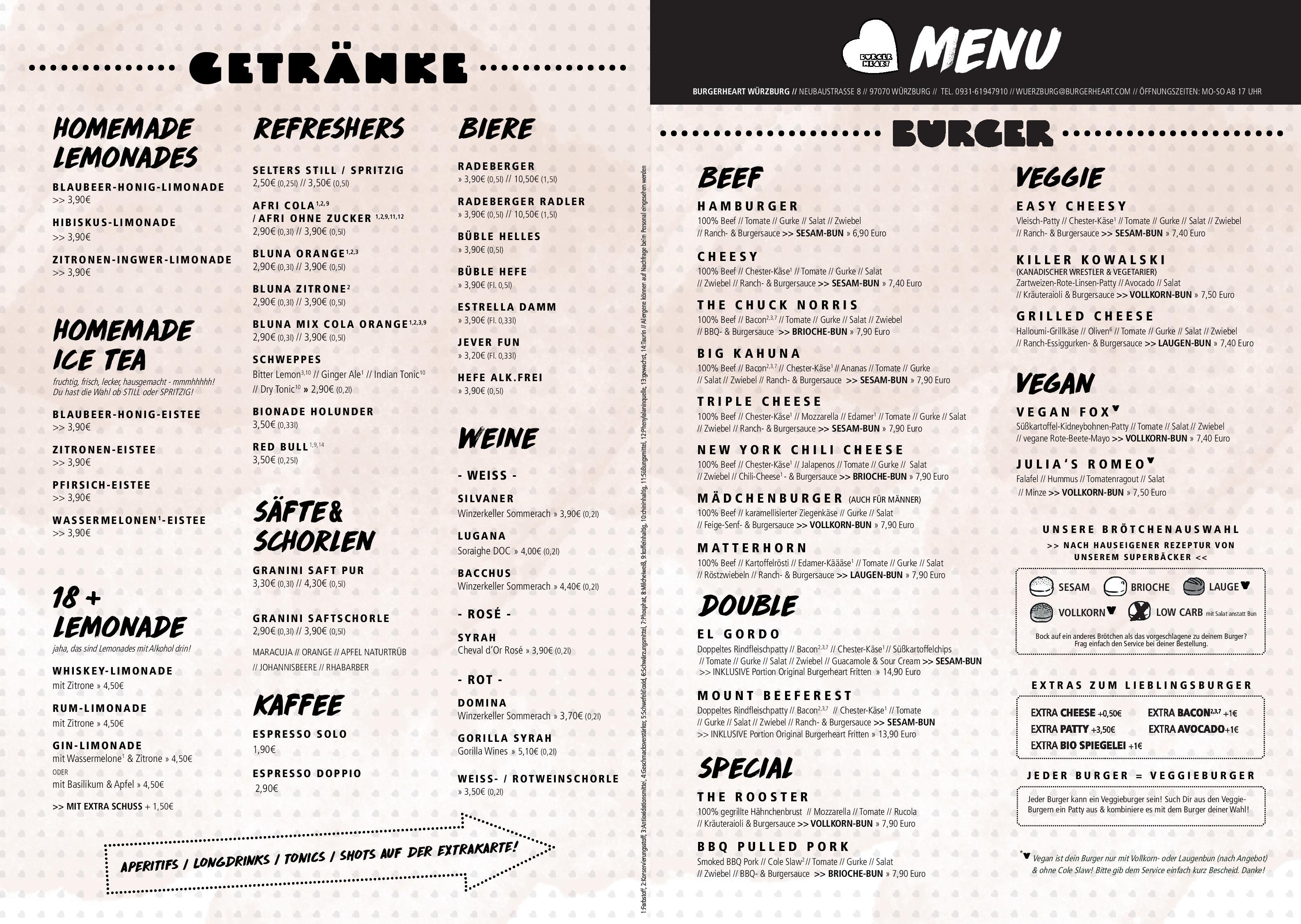 Speisekarte Restaurant Burgerheart In Würzburg Deutschlandgourmet